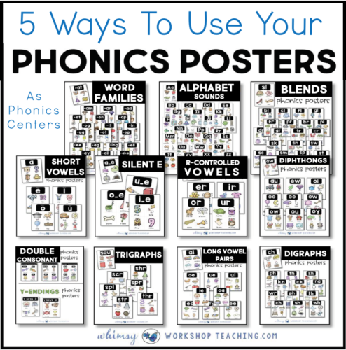 Use phonics posters as centers
