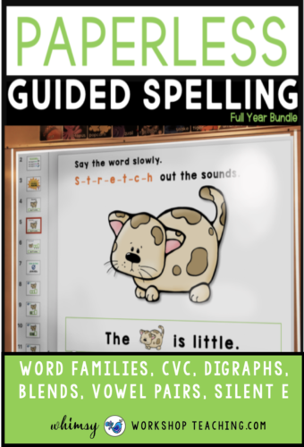 Guided Spelling is easy with paperless slides that walk students through emergent writing