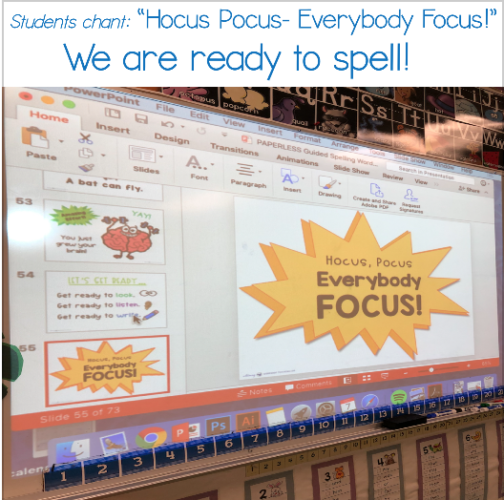guided spelling projected slides