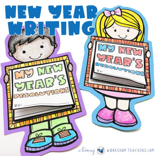 New Year writing projects boy and girl flipbooks