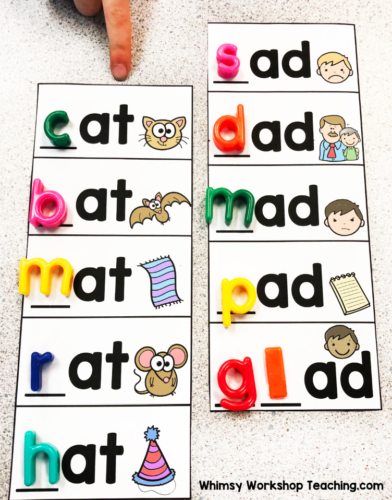spelling cvc words with letter tiles