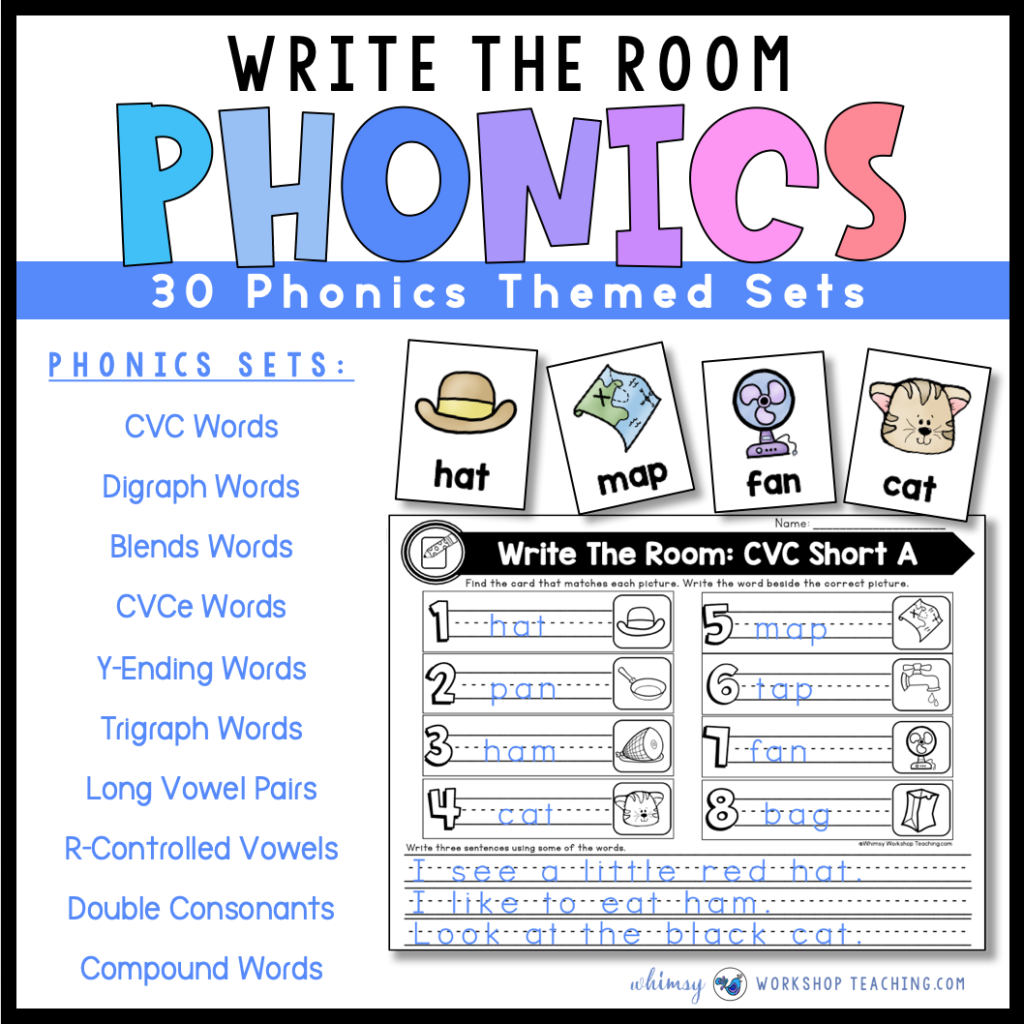 Write the room reading and writing activities for phonics skills through the whole year.