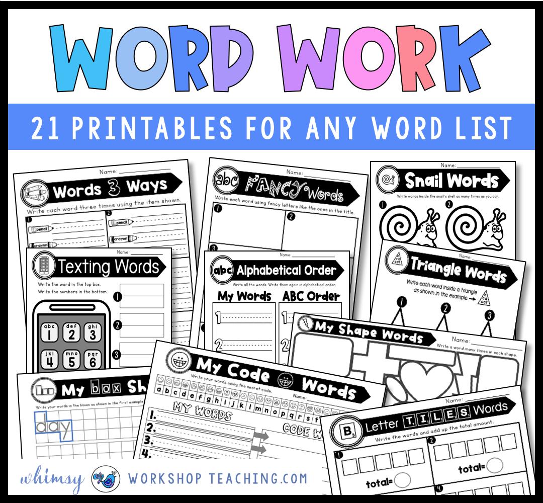 Big bundle of printable word work ideas for phonics work