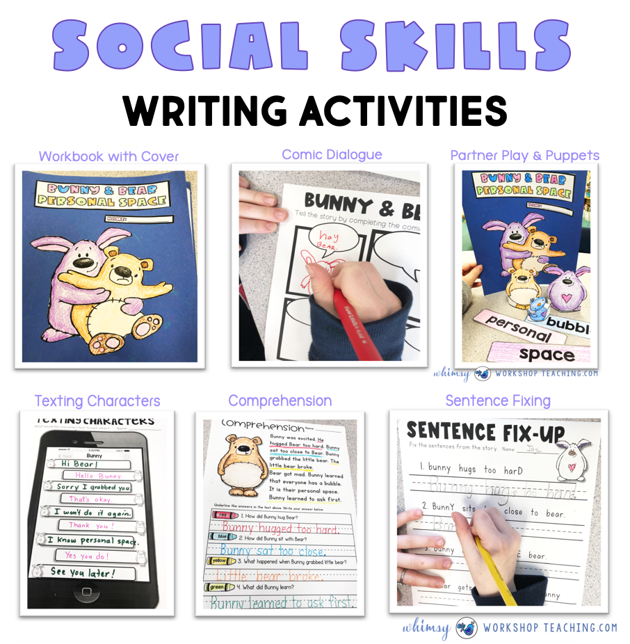 photos of writing activities for social skills books