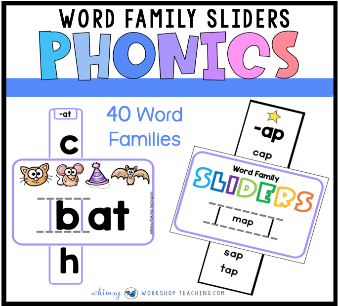 word family sliders to practice phonics and word work
