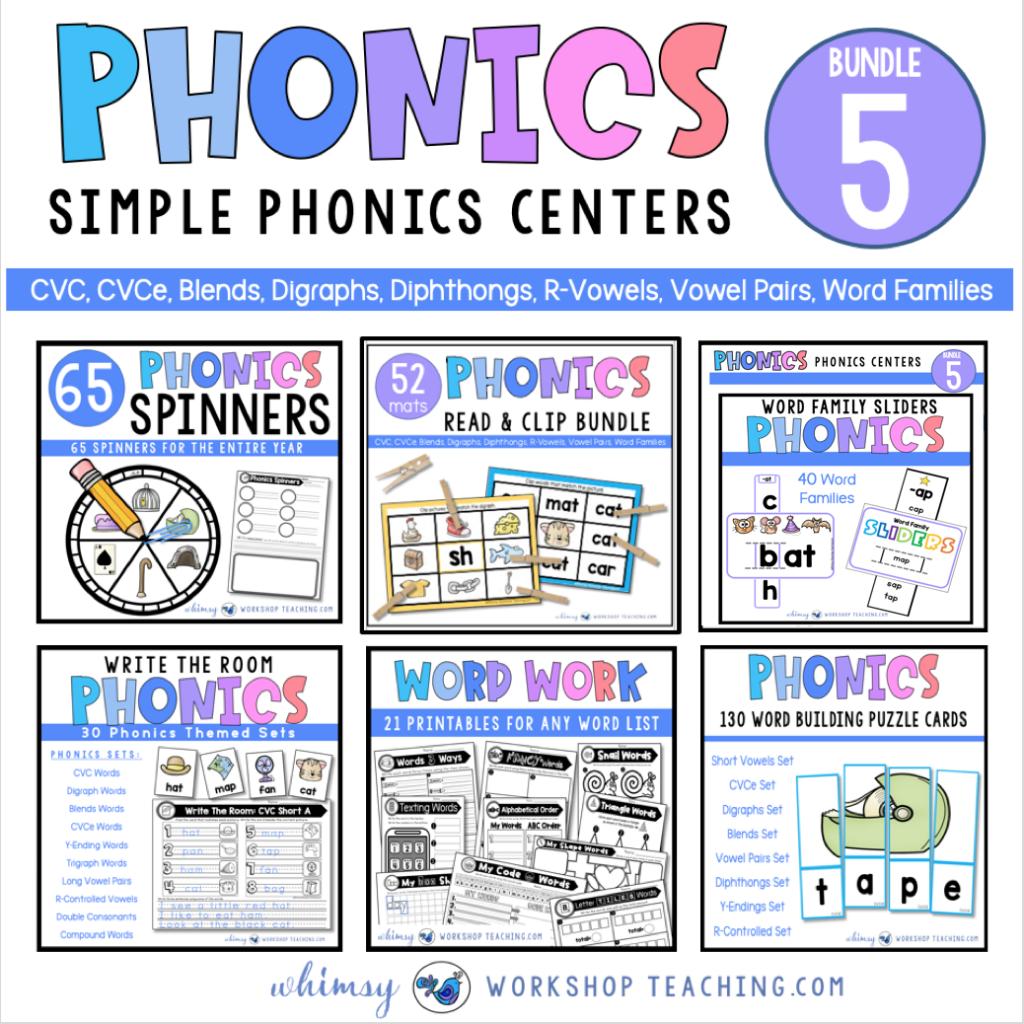 Phonics bundles for six different simple phonics centers