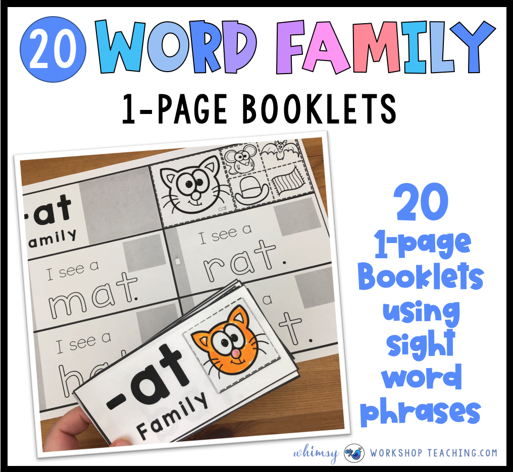 Word Family Booklets Phonics Cernter