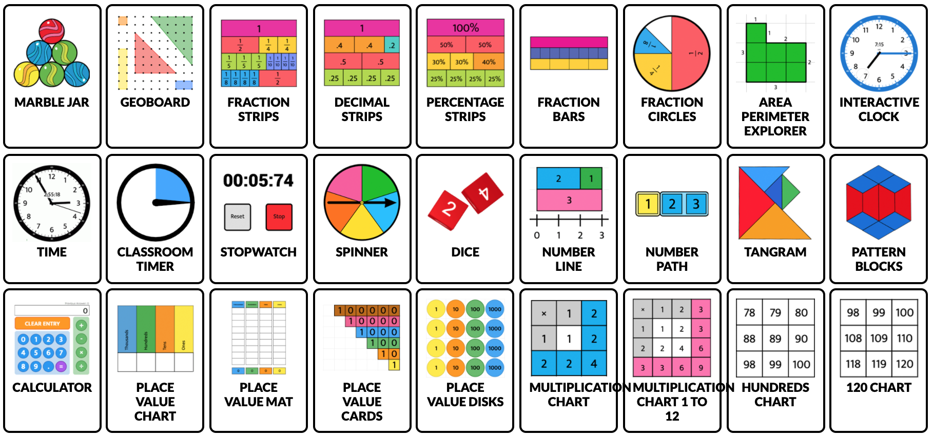 online math tools like geoboards, dice and spinners
