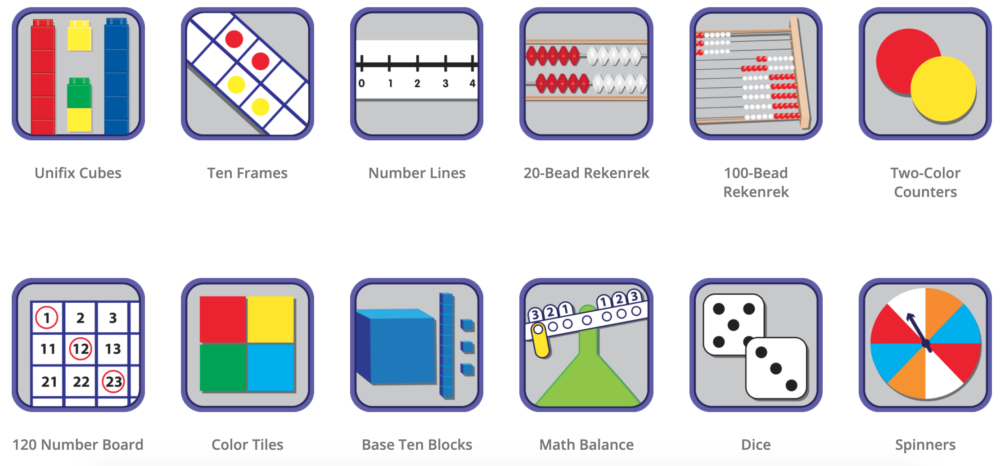 online math tools that include number lines, ten frames, blocks and counters