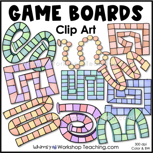 Game Boards Clip Art Pastel Collection