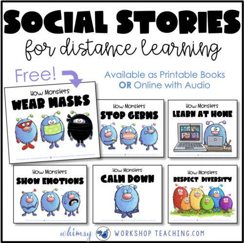 Social Stories for Distance Learning read aloud story books or online with audio