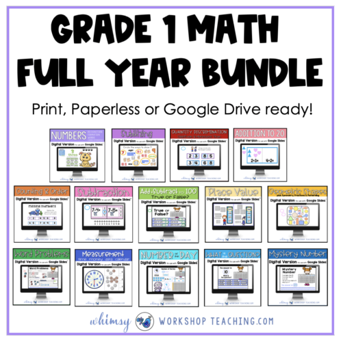 grade one math bundle for print or digital google drive