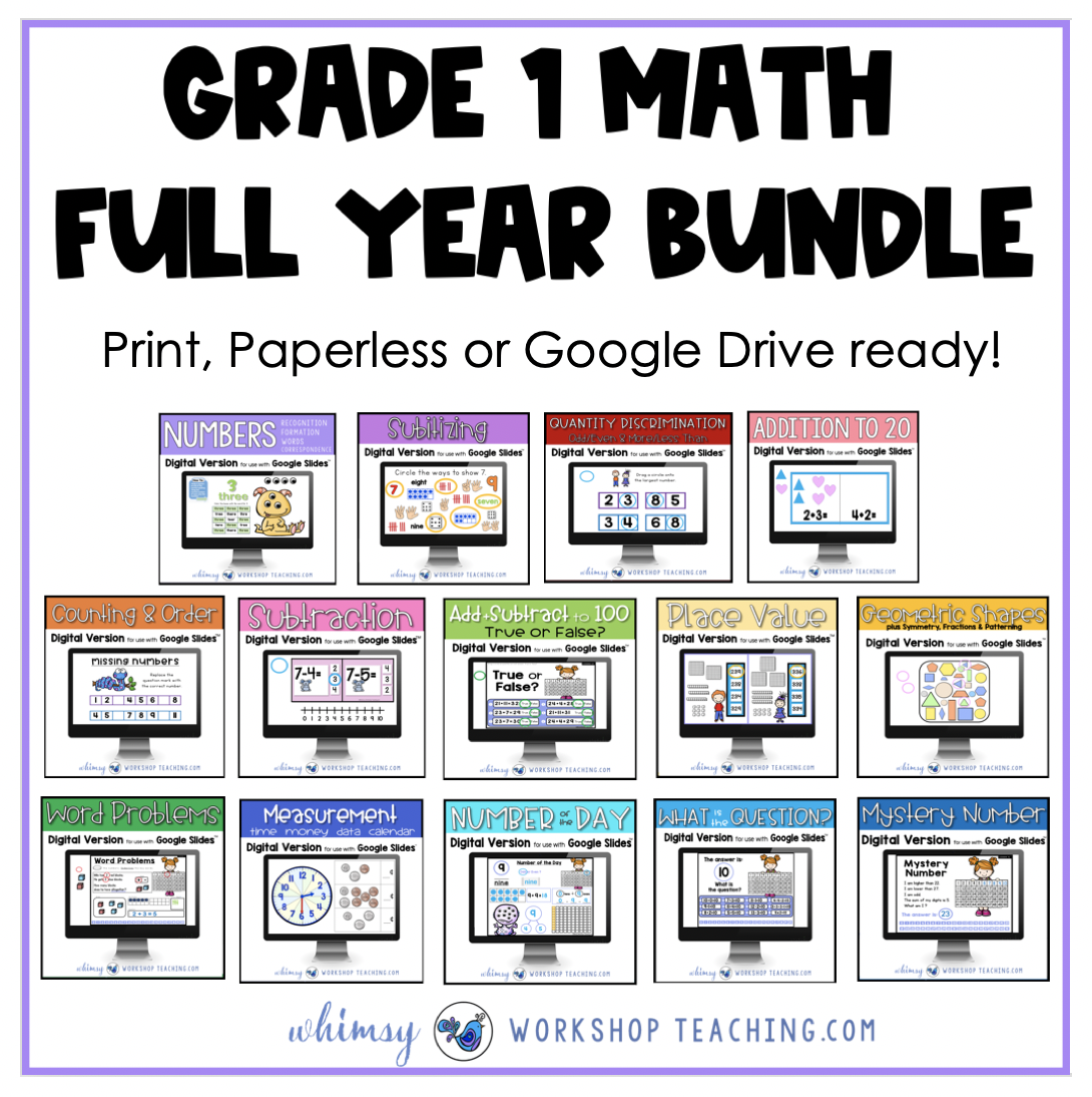 math lessons for the entire first grade year for print paperless and digital google slides