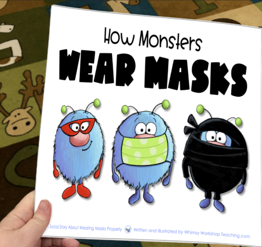 printable story book about how monsters wear masks to stop the spread of germs