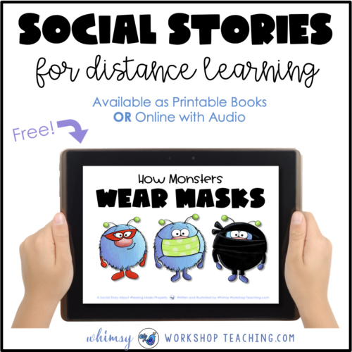 free digital social story on boom learning that illustrates how to wear a mask properly and why it's important