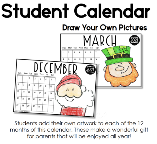 student calendars to use with directed drawing videos